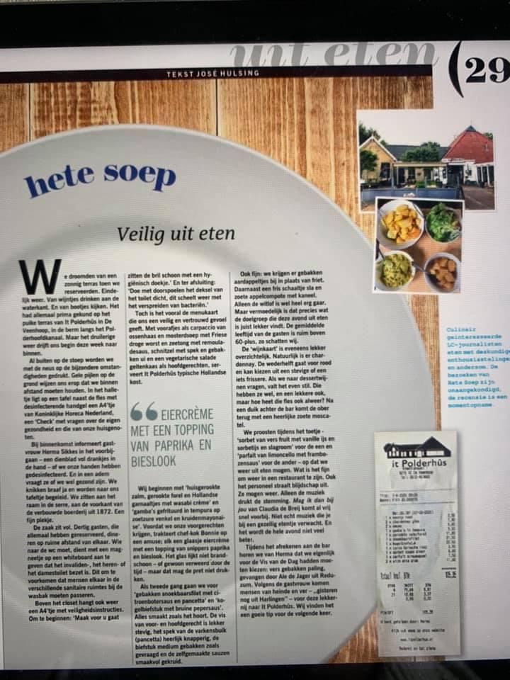 hete soep veilig uit eten bij it polderhus de veenhoop